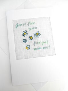 A Forget-Me-Not Birthday. Just For You. Leaving. Retirement Cross Stitch Card £4.00