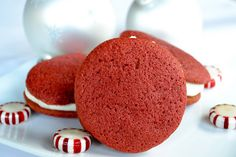 Red Velvet Cookies with White Chocolate Peppermint Cream Cheese Frosting - Mother Thyme