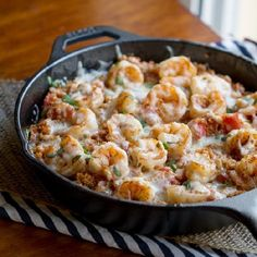 Cajun Shrimp and Quinoa Casserole. Made in a cast iron skillet, keeping those flavors in one place until it's ready to be devoured.