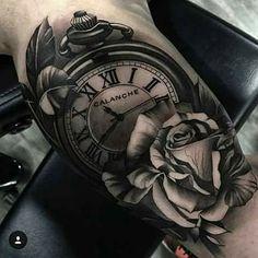 My tattoo ideas Bicep Tattoo Men, Inner Bicep Tattoo, Forarm Tattoos, Rose Tattoos, Leg Tattoos, Body Art Tattoos, Sleeve Tattoos, Clock Tattoo Sleeve, Clock And Rose Tattoo