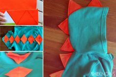 DIY aqua and orange kids' dinosaur jumper costume