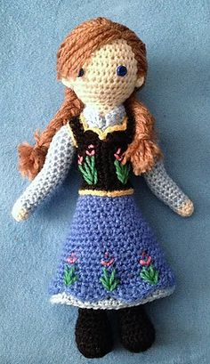"Ravelry: Anna - ""Frozen"" Crocheted Doll Pattern pattern by Becky Ann Smith"