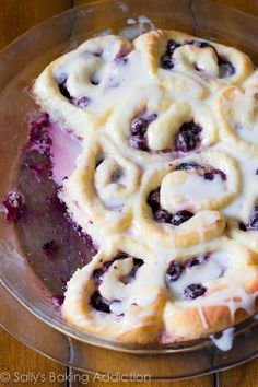 "Easy Blueberry Sweet Rolls with a simple Lemon Glaze. """" This recipe only requires 1 rise and is the perfect recipe for anyone scared of yeast! Fluffy and soft dough bursting with juicy blueberries."""" I want to try it with huckleberries! Just Desserts, Delicious Desserts, Dessert Recipes, Yummy Food, Blueberry Sweet Rolls, Sallys Baking Addiction, Muffins, Blueberry Recipes, What's For Breakfast"