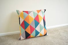 "Multi Coloured, Geometric, Scandinavian, kids Room, home decor Cotton Linen Cushion/Pillow Cover 18 x 18"" by simplyskandi on Etsy https://www.etsy.com/uk/listing/236220536/multi-coloured-geometric-scandinavian"