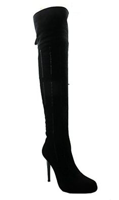 Dan Sara 7980 Womens Suede Over The Knee Suede High Heel Boots Black Size 8 * You can find more details by visiting the image link.(This is an Amazon affiliate link and I receive a commission for the sales)