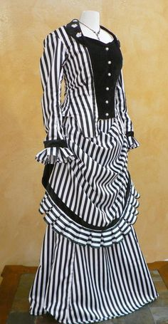 Striped Bustle Gown Victorian Historical Dress
