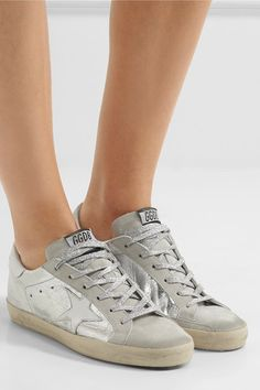 Rubber sole measures approximately 25mm/ 1 inch Silver leather, gray suede Lace-up front Made in Italy