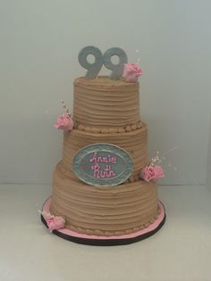 Chocolate, Pink, and Silver 99th Birthday Cake. #customcakes #cornercakery