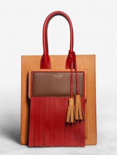 Acne Piers Red leather tote bag with an oversized fringed flap