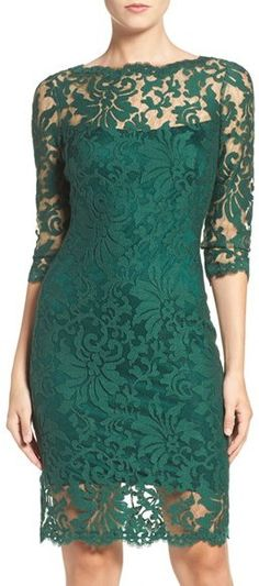2018 Abiye Modelleri ve Gece Elbiseleri En Dikkat Çeken Modeller – Embroidered-Lace-Sheath-Dress Best Formal Dresses, Elegant Dresses, Women's Dresses, Short Dresses, Fashion Dresses, Dress Formal, Bride Dresses, Green Evening Dress, Lace Evening Gowns