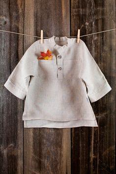 Boy shirt - Natural gray linen boy shirt - size 6 - 7  years - Ready to ship. $27.00, via Etsy.