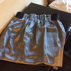 Silver metallic skirt Metallic skirt with black waist band. Usually worn during holidays 💕 Skirts