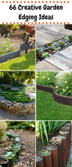 66 Creative Garden Edging Ideas - Using rocks, hoses, wine bottles, metal wheels, fences... awesome DIYs to try all year round!