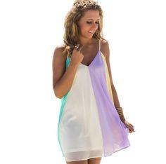 彩虹吊带雪纺连衣裙