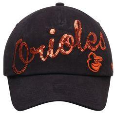 Women s Baltimore Orioles  47 Black Sparkle Script Clean Up Adjustable Hat b6f062b544dd