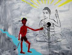 Zen Tainaka, Kill Buddha, acrylic, lacquer on canvas, 91x116.8cm, 2014