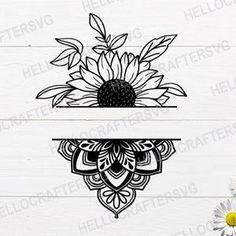 Sunflower Mandala Tattoo, Half Mandala Tattoo, Sunflower Tattoos, Sunflower Tattoo Design, Tattoo P, Neue Tattoos, Tattoo Sketches, Doodle Art, Tattoo Inspiration