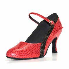 PU Leather Sole Soft Female Women Dance Shoes Black/Red Closed pointed Toe Ballroom Latin Dance Shoe Practice Teachers 6405