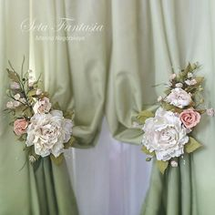 Rose Tie Backs Curtain Flower Tiebacks Drapery by SetaFantasia