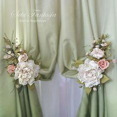 Rose Tie Backs Curtain Flower Tiebacks Drapery by SetaFantasia