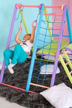 on a playground has been the go-to fun for decades. Even adults hop on these things when no one else is watching ; Toddler Jungle Gym, Indoor Jungle Gym, Indoor Gym, Indoor Toddler Gym, Toddler Bed, Playroom Design, Kid Playroom, Playroom Decor, Kids Indoor Playground