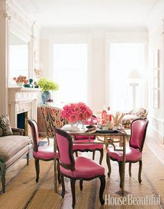 Like this room. Such pink chairs