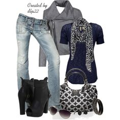 Don't like the lighter jeans and the shoes seem a bit much. But I LOVE navy and gray and that purse is gorgeous!