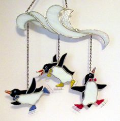 Avalon's Stained Glass Blog: Three Ice Skating Penguins