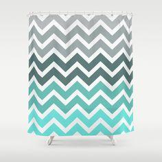"Shower Curtain / 71"" by 74"" RexLambo (rexlambo) Tiffany Fade Chevron Pattern by RexLambo"