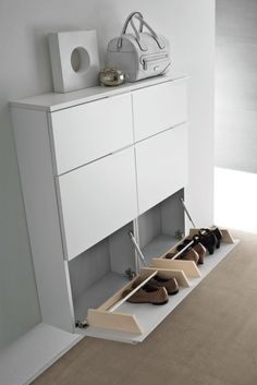 Shoe cabinet ideas you need to copy now. Thirty gorgeous modern shoe cabinet ideas you should use now. Feed your design ideas now. Wall Shoe Rack, Diy Shoe Rack, Shoe Racks, Hallway Shoe Storage, Shoe Cabinet Design, Shoe Storage Cabinet, Shoe Cabinet Entryway, Wall Mounted Shoe Storage, Shoe Storage Design