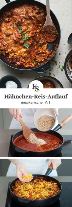 Mexikanischer Hähnchen-Reis-Auflauf This Mexican chicken rice casserole combines spicy flavors, creamy cheese and hearty, tender chicken. Quick and easy to prepare, this Mexican-style casserole is a wonderful everyday meal! Crock Pot Recipes, Healthy Chicken Recipes, Casserole Recipes, Mexican Food Recipes, Vegetarian Recipes, Frugal Meals, Easy Meals, Mexican Chicken And Rice, Chicken Rice Casserole