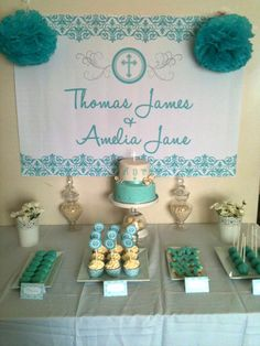 Baptism Party | Baptism Dessert Table Ideas - Baptismal Candy Buffet Table Ideas ...