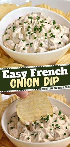You can't go wrong with this easy recipe for holiday entertaining! Once you try the delicious flavors of this French Onion Dip, you will never go back to a store-bought version again. Gather up those pantry staples to make this crowd-loving appetizer for the New Year! Party Dip Recipes, New Recipes, Cooking Recipes, Favorite Recipes, Recipes For Dips, Family Recipes, Yummy Recipes, Appetizer Dips, Sauces