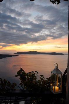 santoriniisland:  Romantic sunset in Fira