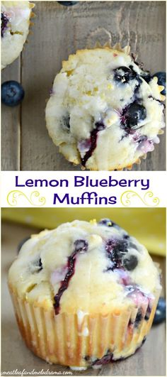 Glazed Lemon Blueberry Muffins. This recipe uses coconut oil and makes light, almost fluffy muffins that are bursting with fresh blueberries and topped with a tangy lemon glaze. Perfect for breakfast or brunch! #muffins #mothersday