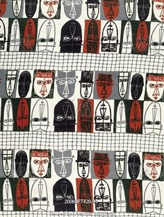 Masks furnishing fabric by Robert Stewart, 1954