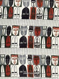 Masks furnishing fabric by Robert Stewart, 1954