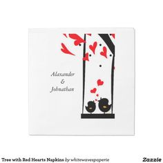 Tree with Red Hearts Napkins Standard Luncheon Napkin