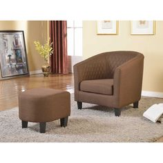 US Pride Furniture Isabella Fabric Accent Chair and Ottoman (