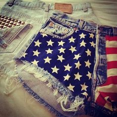 American flag shorts and bleached shorts with studded pockets