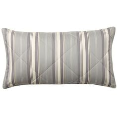 Pottery Barn Greer Stripe Sham ($60) ❤ liked on Polyvore featuring home, bed & bath, bedding, bed accessories, pottery barn shams, pottery barn, stripe bedding, striped bed linen and striped bedding