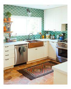 EliteTile Lincoln x 11 Porcelain Field Tile in Tan/Beige/Brown Green Kitchen, Kitchen Colors, New Kitchen, Kitchen Decor, Kitchen Ideas, Earthy Kitchen, Bohemian Kitchen, Country Kitchen, 10x10 Kitchen