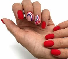 Gorgeous Red Nail Art Designs For Stylish Women; Red Nail Art, Red Nails, Hair And Nails, Cute Acrylic Nails, Cute Nails, Pretty Nails, Minimalist Nails, Manicure, Red Nail Designs