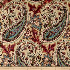 Williamsburg Currant Plumtree Paisley Home Décor Fabric Paisley Art, Paisley Fabric, Paisley Design, Paisley Pattern, Paisley Wallpaper, Textile Design, Fabric Design, Pattern Design, Pattern Art
