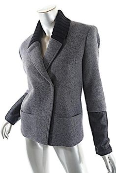 192af3b846 THEORY Charcoal Wool Blend Fleeced Rib Collar DB Goat Leather Cuffs Sz S # Theory #