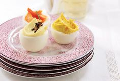 A trio of deviled eggs--traditional, truffled, and smoked salmon