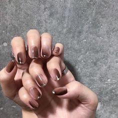 uk in 2020 Brown Nail Art, Brown Nails, Black Nails, Cute Toe Nails, Cute Toes, Nail Manicure, Nail Polish, Instagram Nails, Gorgeous Nails