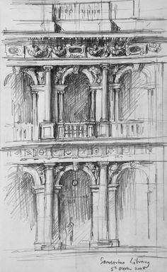 This week's #buildingdoodle is by Francis Terry, partner in Quinlan & Francis Terry Architects of Sansovino's Library, Venice http://ubm.io/1sKbNDk