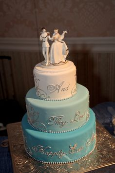 Love the silver writing! super cute cake minus cinderella on top