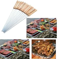 Bbq Skewers Set 12 Stainless Steel 30 cm Cooking Grilling Skewer Kebabs Outdoor